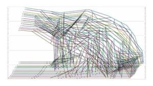 Shop Architects, DUNESCAPE immagine dell'unico elaborato prodotto per la realizzazione: template in scala 1:1 per il taglio sul posto dei componenti standard in legno