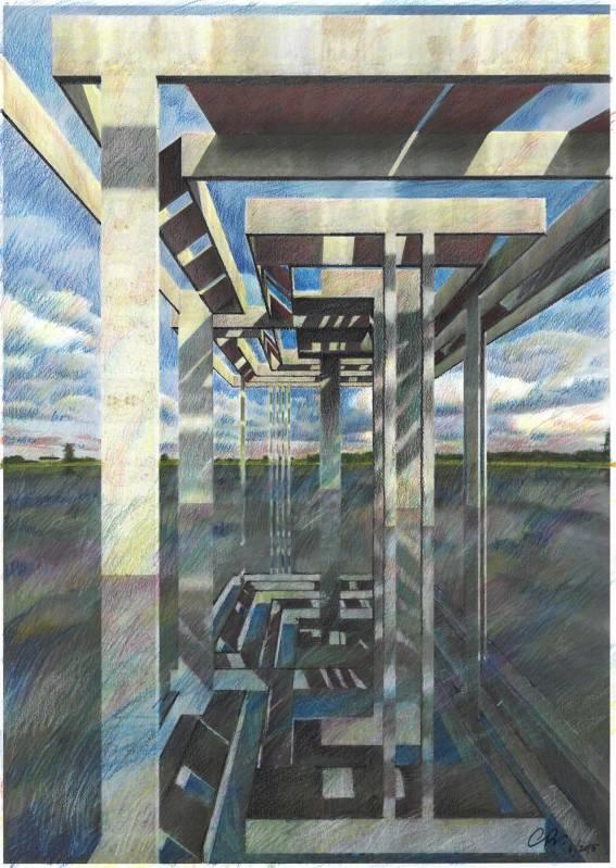 Architettoscopio Modello secondo. Il Meandro. prima variazione. Pastello su cartoncino 40x30 cm.