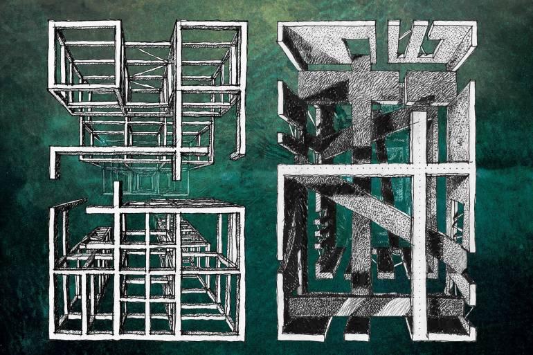 Carlo Prati. Aphex grid/Oneohtrix point never. 2015. Tecnica Mista. cm 180x120.